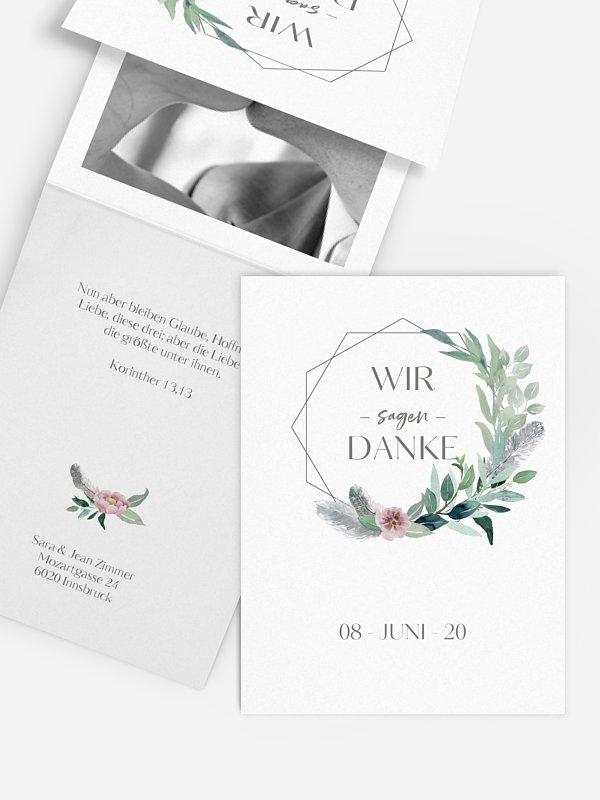 Dankeskarte Hochzeit Boho Dreams