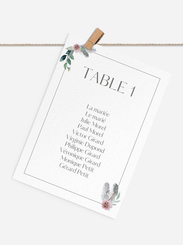 Cartons plan de table mariage Boho Dreams