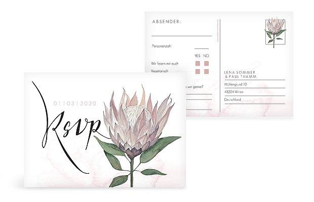 Antwortkarte Hochzeit Protea