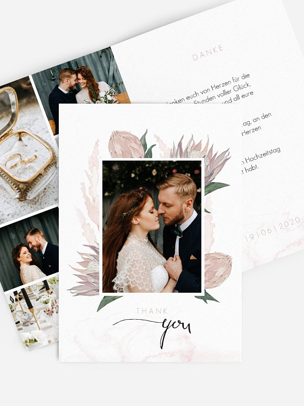Dankeskarte Hochzeit Protea