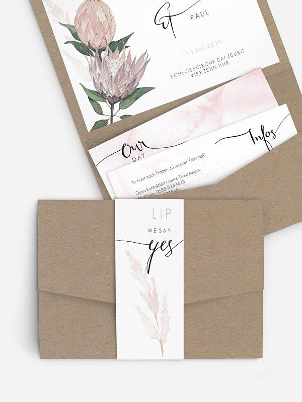 Hochzeitseinladung Protea