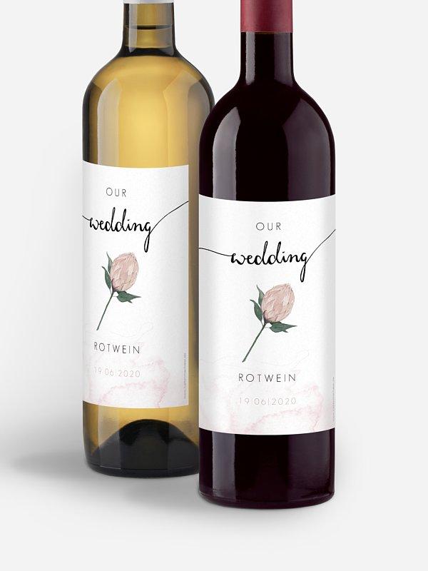 Flaschenetikett Hochzeit Protea