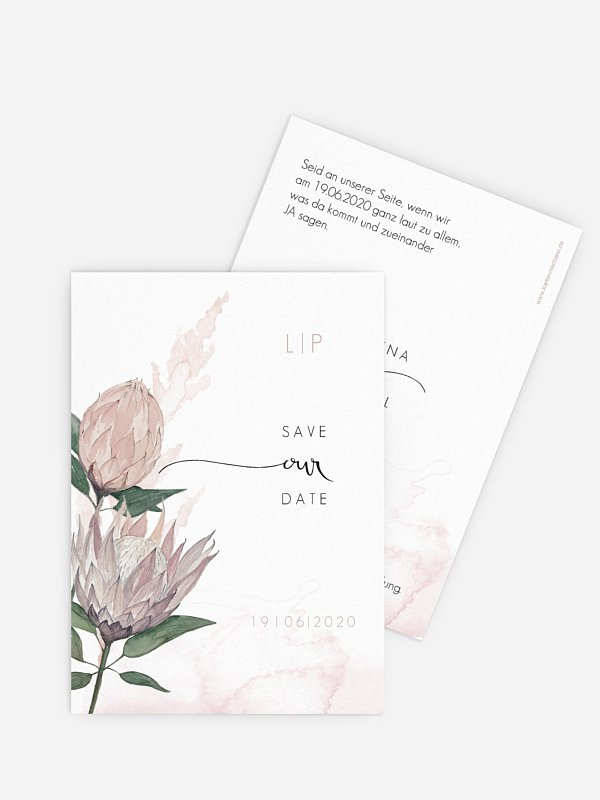 Save-the-Date Karte Protea