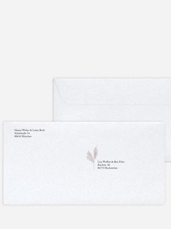 Bedruckter Briefumschlag Hochzeit Scandi Pampas