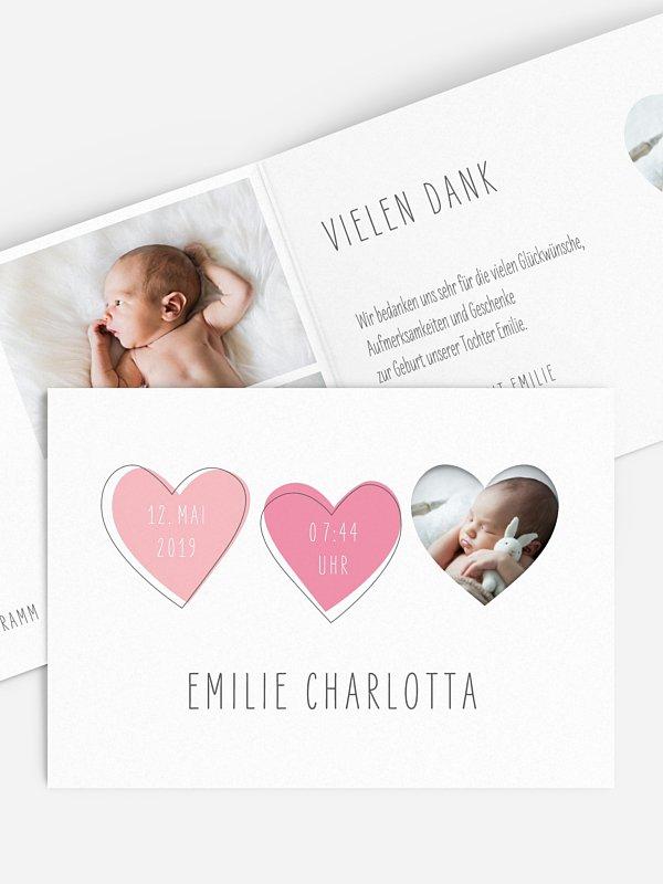Geburtskarte Foto-Herzchen (gestanzt)