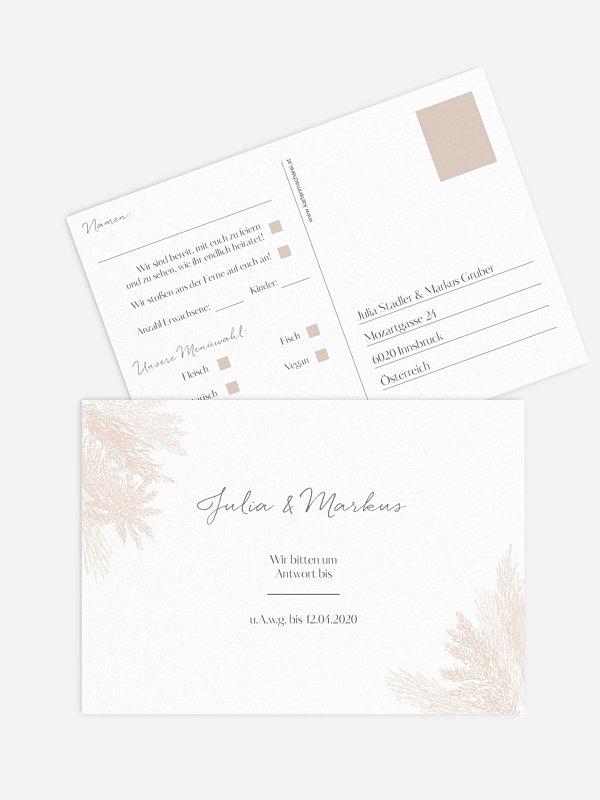 Antwortkarte Hochzeit Pampasgras