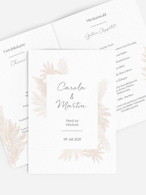 Menükarte Hochzeit Pampasgras