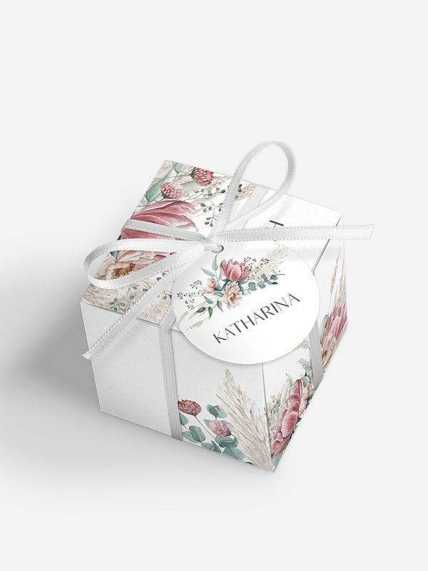 Gastgeschenkbox personalisiert Pampas & Peony