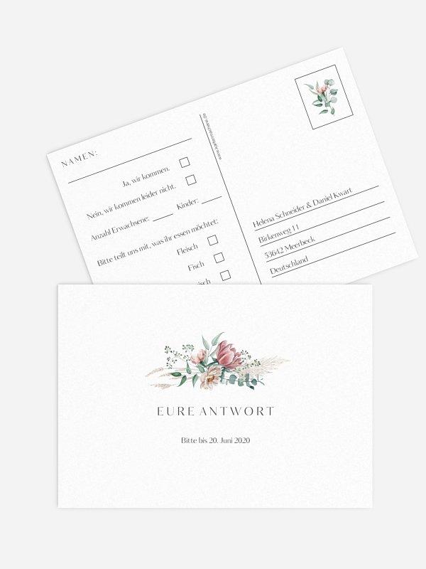 Antwortkarte Hochzeit Pampas & Peony