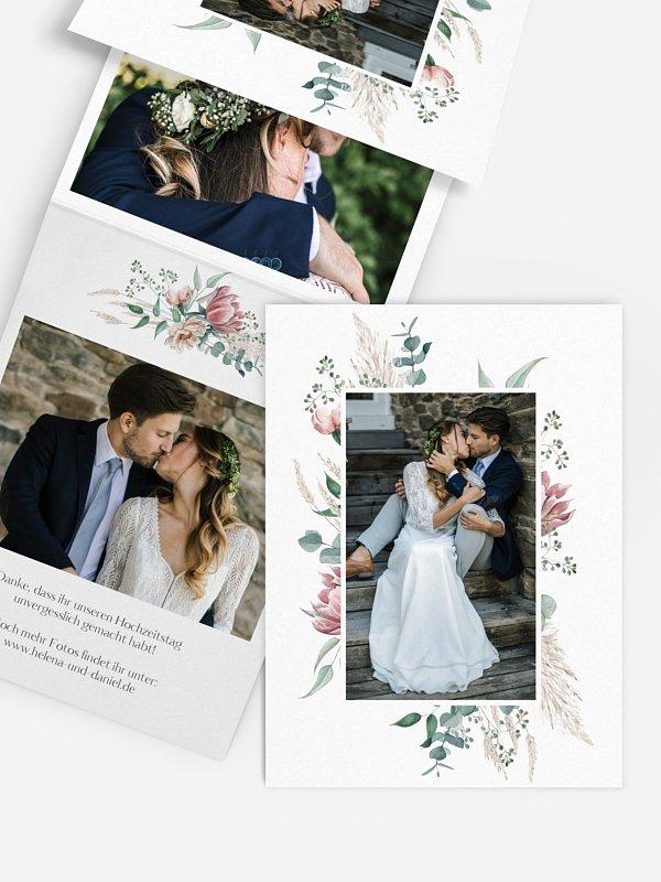 Dankeskarte Hochzeit Pampas & Peony