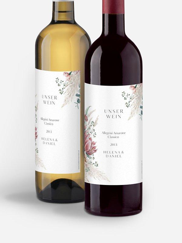 Flaschenetikett Hochzeit Pampas & Peony