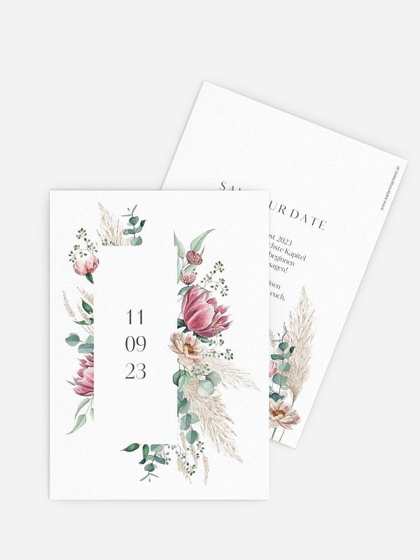 Save-the-Date Karte Pampas & Peony