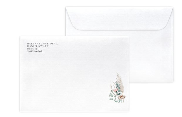 Briefumschlag mit Motiv Pampas & Peony