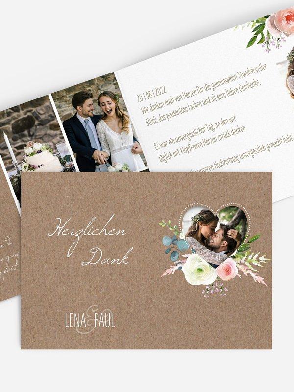 Dankeskarte Hochzeit Romanze (gestanzt)
