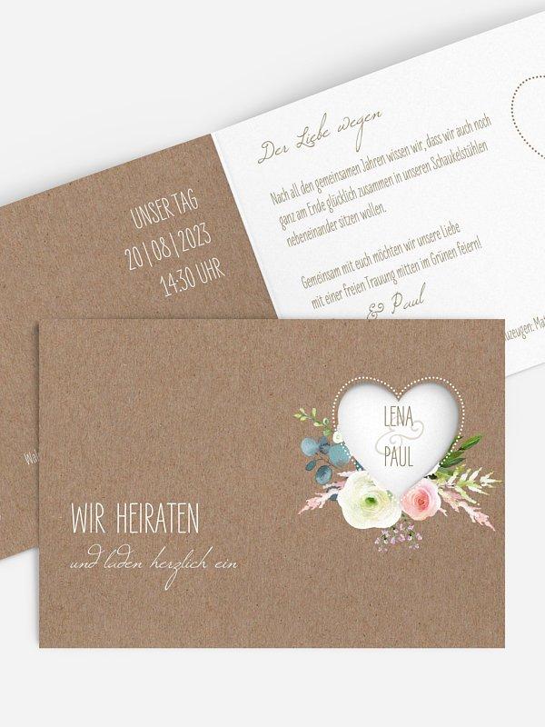 Hochzeitseinladung Romanze (gestanzt)