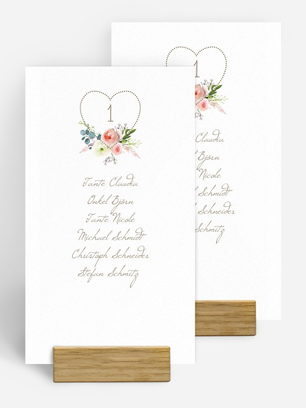 Gruppentischkarte Romanze