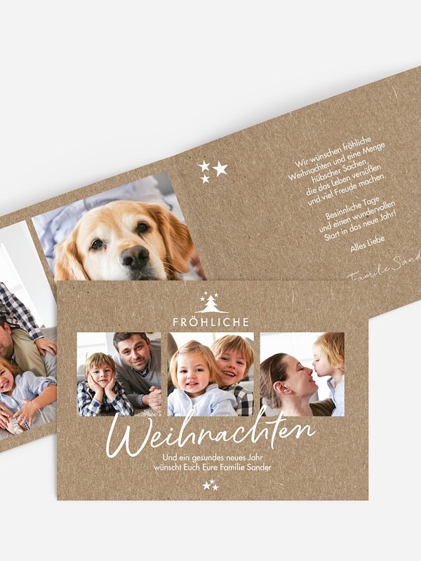 Weihnachtskarte Weihnachtswünsche Kraftpapier