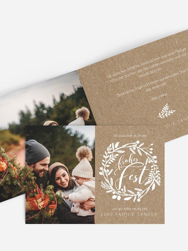 Weihnachtskarte Delight Kraftpapier