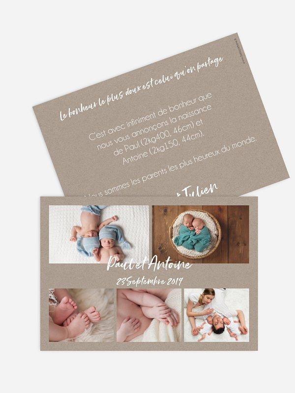 Faire-part naissance jumeaux Multi-photos IV