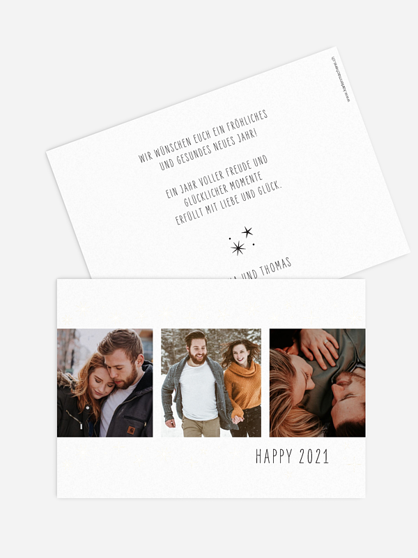 Neujahrskarten Glanz & Glück Premium