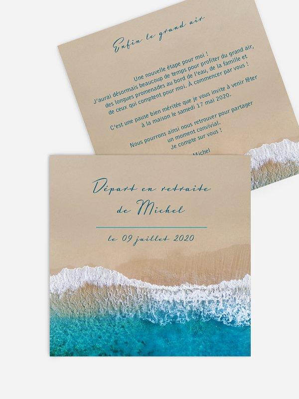 Carte invitation départ retraite Écume de mer