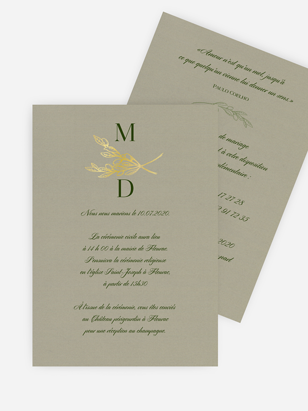 Faire-part mariage Branches d'olivier