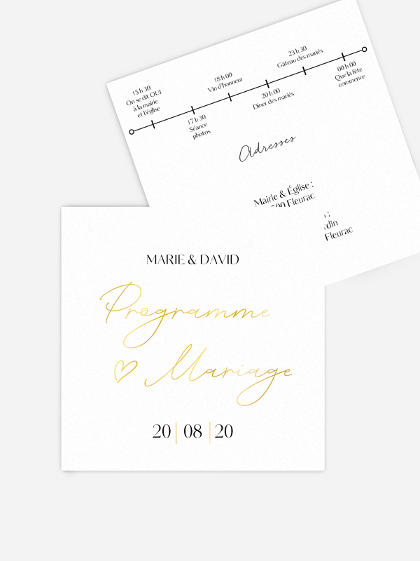 Programme mariage Just chic