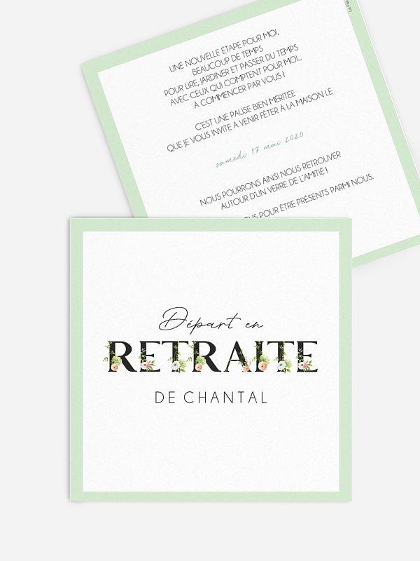 Carte invitation départ retraite Retraite fleurie
