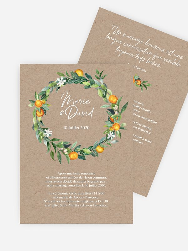Faire-part mariage Orangerie