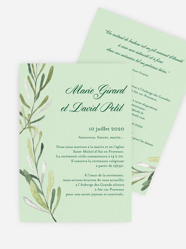 Faire-part mariage Rameau d'oliver