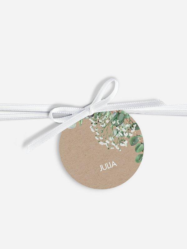 Étiquette avec ruban mariage individuelle Gypsophile
