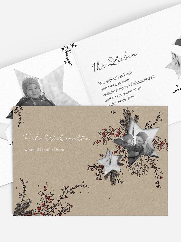 Weihnachtskarte Pine & Holly gestanzt