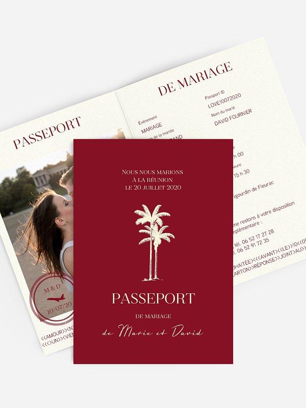 Faire-part mariage Passeport tropique