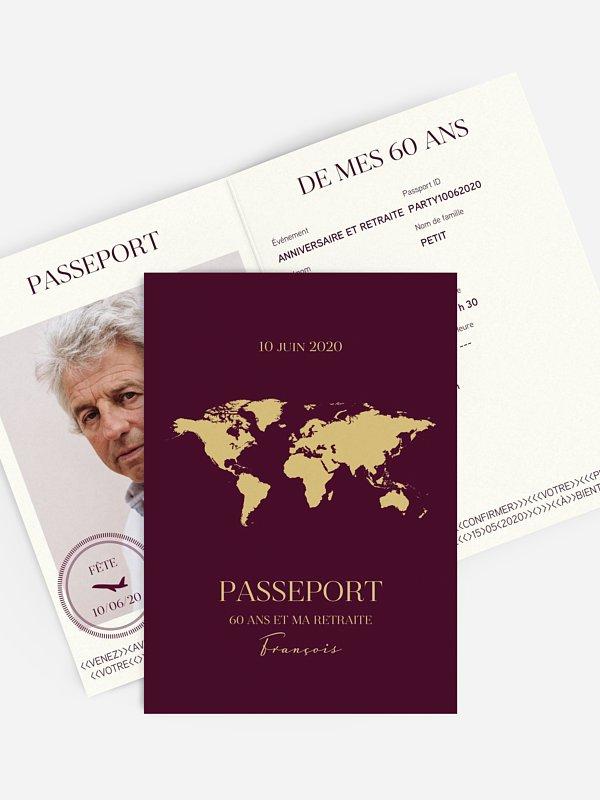 invitation anniversaire 60 Passeport chic