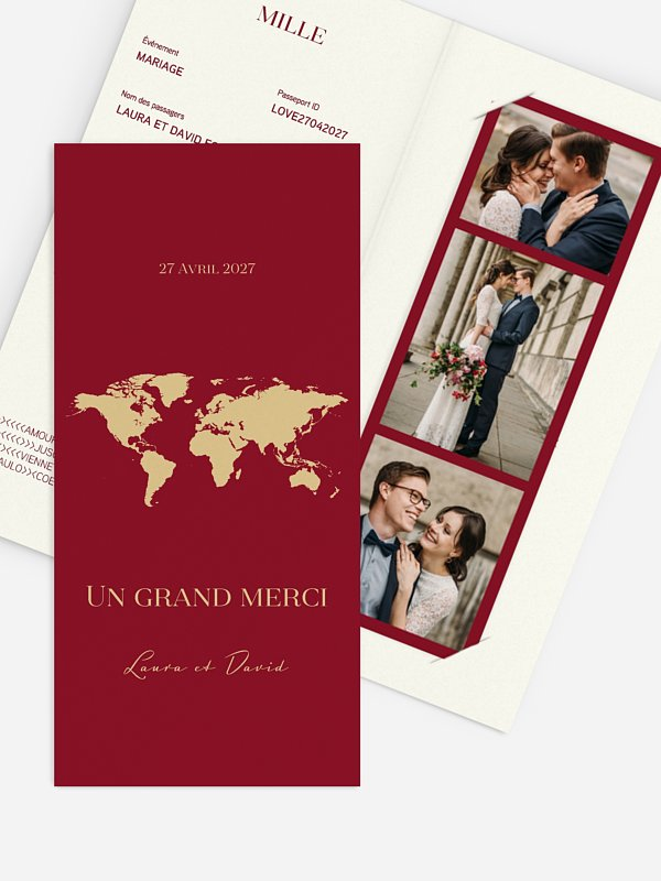 Carte de remerciements Passeport chic