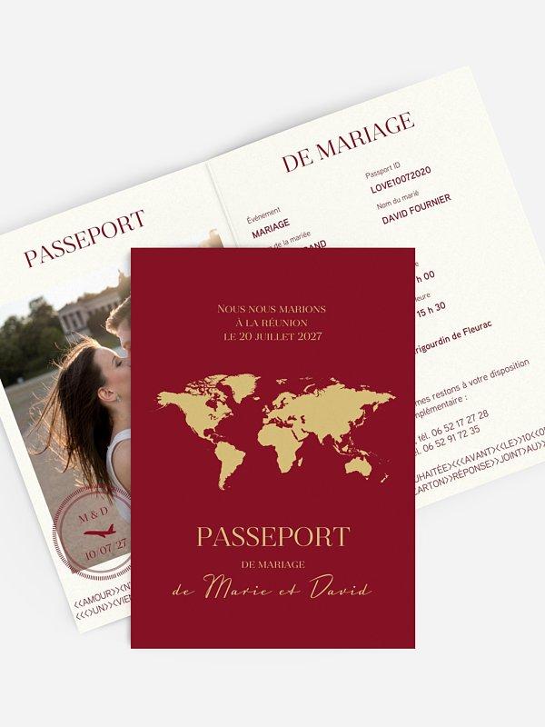 Faire-part mariage Passeport chic