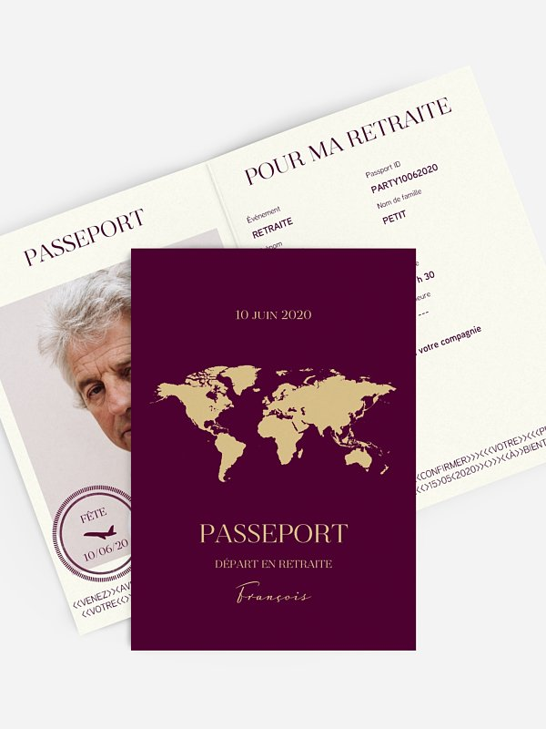 Carte invitation départ retraite Passeport chic