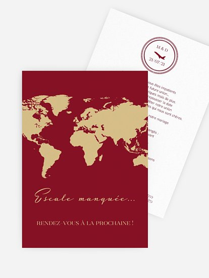 Carte mariage reporté Passeport chic