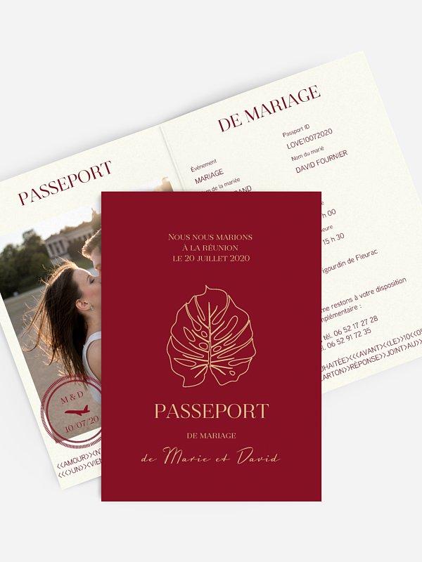 Faire-part mariage Passeport des îles