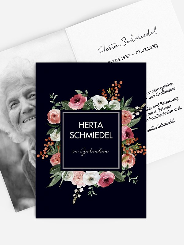 Trauerkarte Romantic Flowers