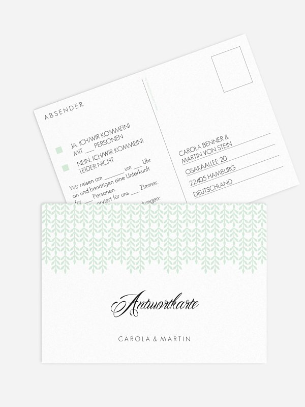 Antwortkarte Hochzeit Glamour