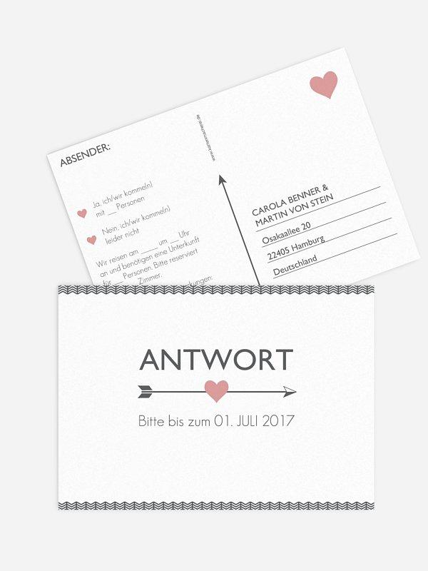 Antwortkarte Hochzeit Amors Pfeil