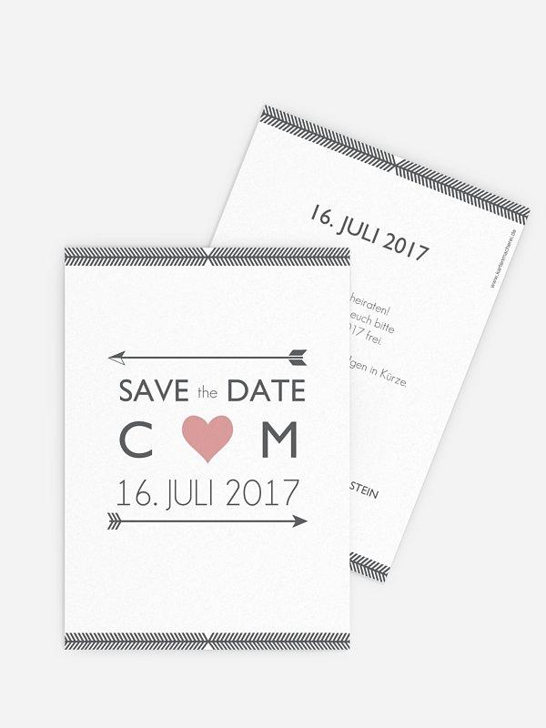 Save-the-Date Karte Amors Pfeil