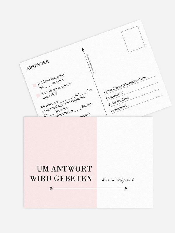 Antwortkarte Hochzeit Color Block