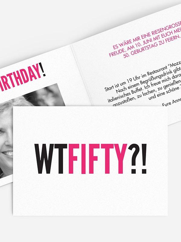 Einladung 50. Geburtstag What the...