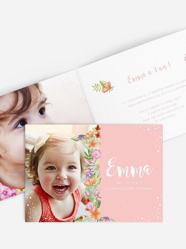 invitation anniversaire enfant Nombre en fleurs 1