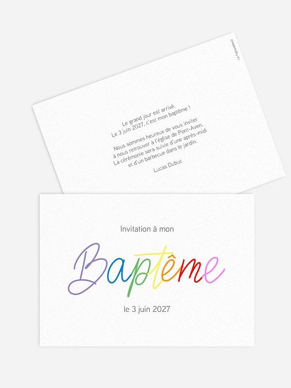 Faire-part baptême Rainbow Colors