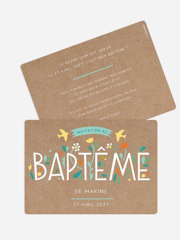 Faire-part baptême Journée colorée