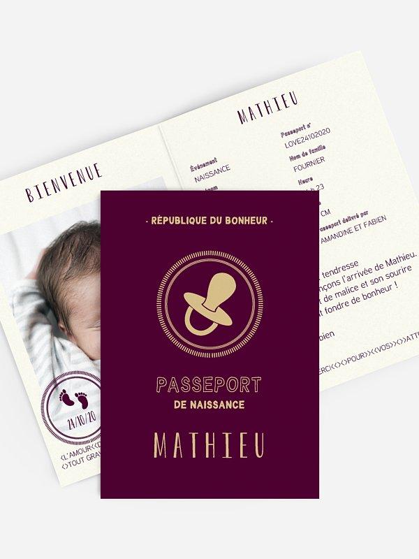 Faire-part naissance Passeport bébé