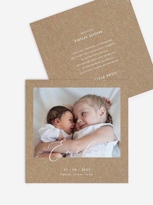 Faire-part naissance Lovely shine papier kraft